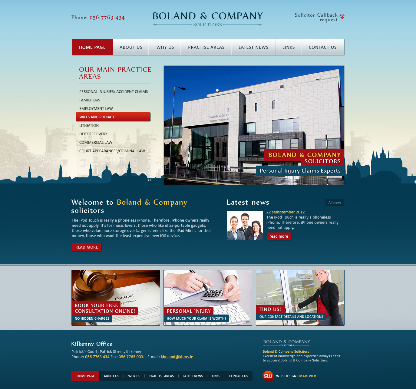 Верстка сайта Boland & Company