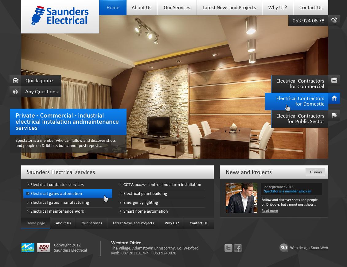 Верстка сайта Saunders electrical