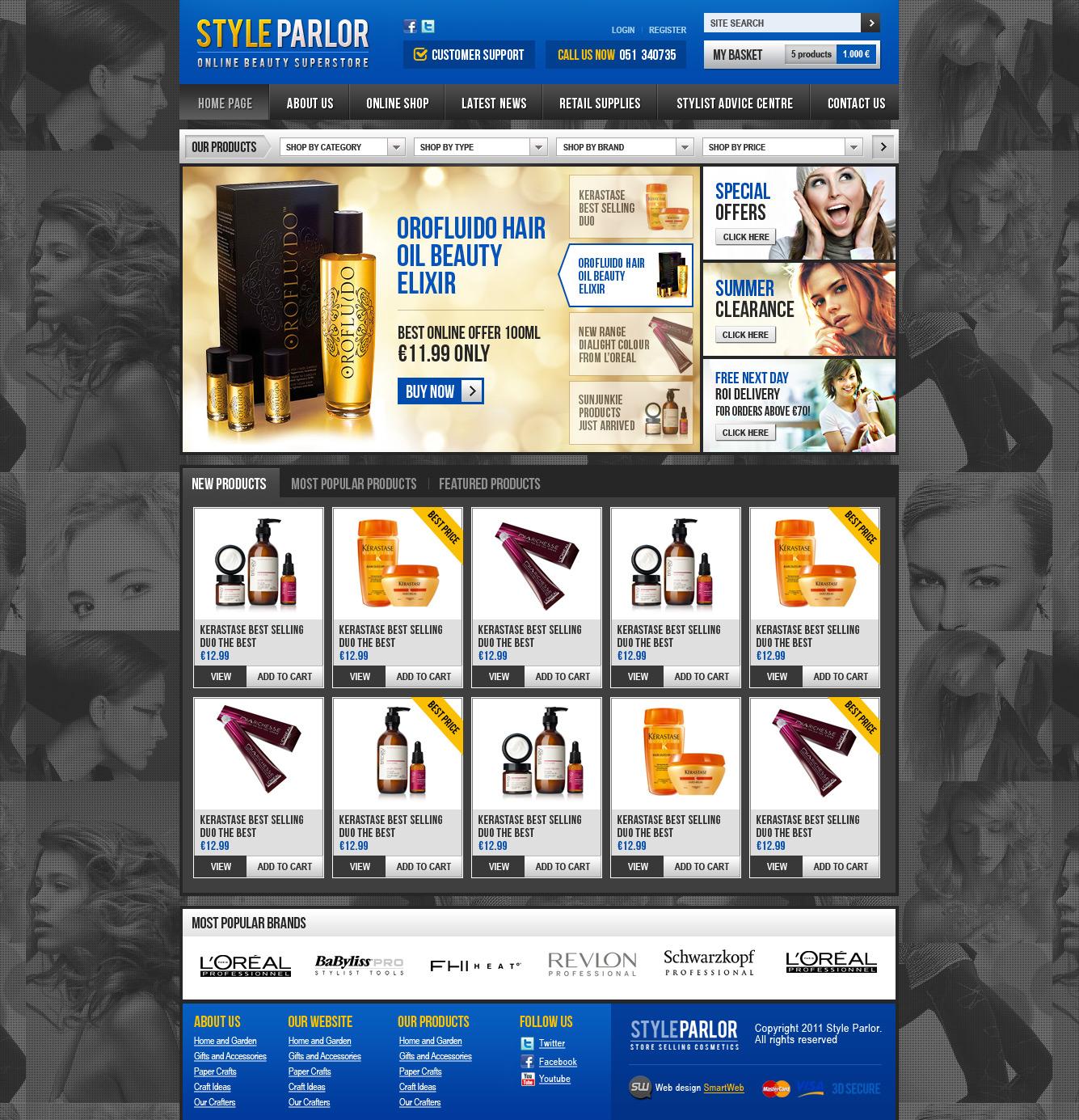 Верстка сайта Style Parlor